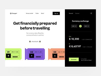 Change-it: home page interface fintech finance visual identity landing page landing web web page web design