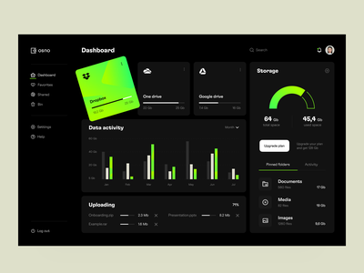 File manager: dark theme application app design web design web app platform file manager dashboard product
