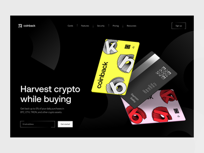 homepage: crypto service website web web design homepage landing invest cashback cards crypto finance fintech