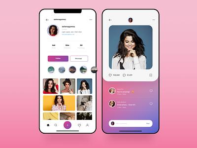 Redesign for Instagram mobile pink gradient ux ui design