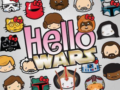 Hello Wars - series concept illustration character star wars hello kitty kawaii sticker branding r2d2 ewok boba fett princess