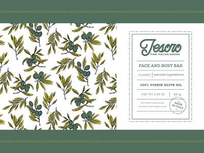 Tesoro Soap Package Design typography hand lettering illustration branding package design