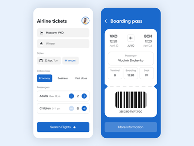 Airline tickets – Mobile App concept minimal design code cabin passenger search flights airplane plane ticket travel airline airport ux ui mobile app