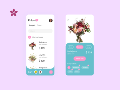 Phlora Flower Shop | Mobile App Concept Design | Ux Ui
