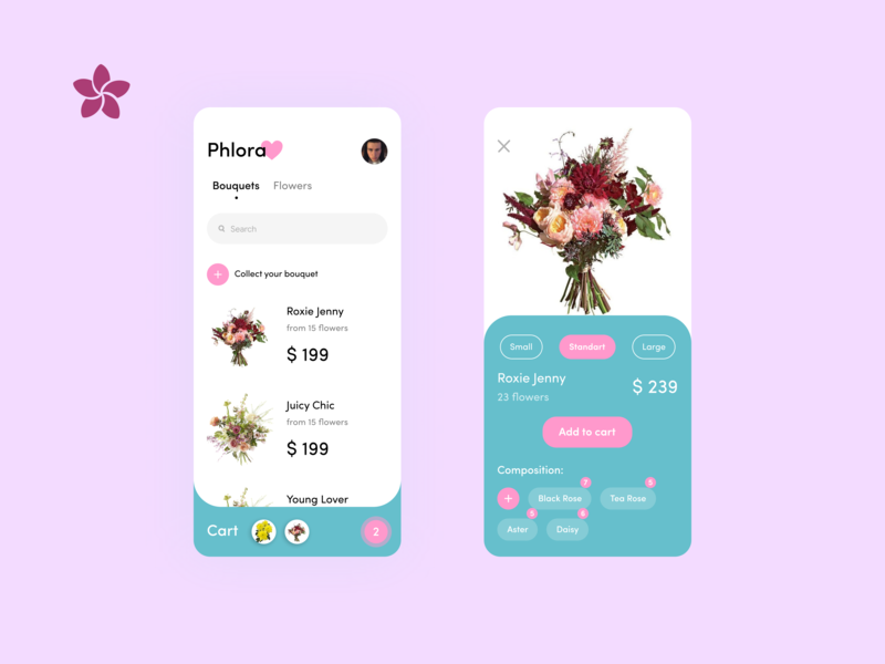 Phlora Flower Shop | Mobile App Concept Design | Ux Ui product flower flora delivery branding bouquet typography icon concept cart ux ui mobile minimal logo design app