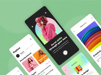Podcast - Mobile app episode mood playlist learning interface product design mobile app figma platform record listen audio podcast concept application mobile design ux ui arounda