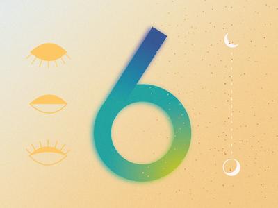 6 for 36 days of type typography graphicdesign ui 36daysoftype gradients vector design minimal adobe illustrator illustration