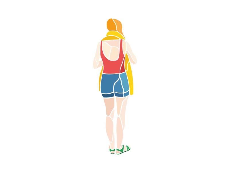 Beach woman graphicdesign gradients flat design minimal vector adobe illustrator illustration