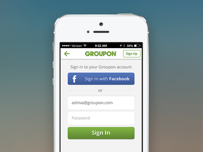 Groupon Sign In signin groupon form iphone fields buttons login facebook signup onboarding mobile password