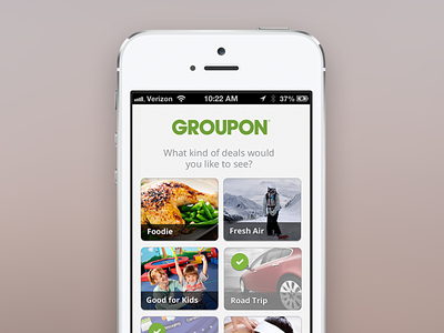 Groupon Onboarding onboarding groupon categories photography checkmarks mobile iphone grid deals ios selection