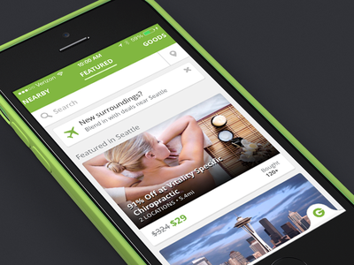 Groupon iPhone Redesign iphone groupon redesign ios7 daily deals green flat