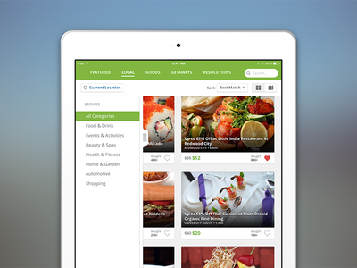 Groupin iPad Redesign groupon ipad ios7 menu green local deals