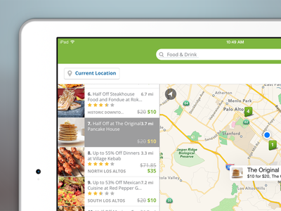 Groupon iPad Local Map groupon ipad ios7 menu green local deals