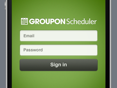 Groupon Scheduler Mobile Web Login green login scheduler signin fields button mobile iphone groupon sign in booking appointments calendar scheduling mobile web