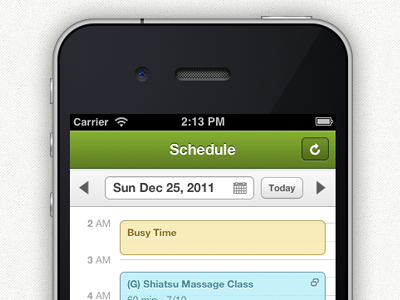 Groupon Scheduler - Mobile Web green mobile iphone schedule calendar groupon scheduling booking times mobile web