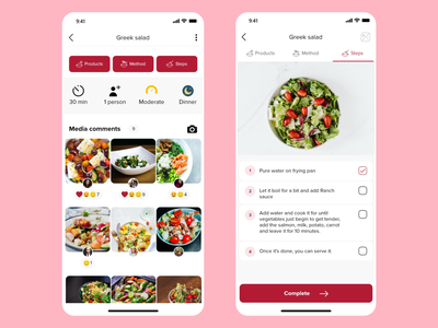 Wasfat - food and recipes app baking cooking food delivery media comments comments recipes food adobexd adobe xd hybrid app hybrid app webdesign uxdesign uidesign ux ui