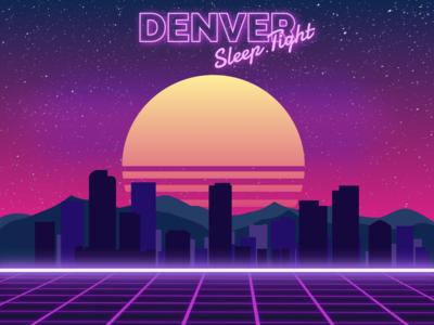 Retro Syntwave Denver Skyline