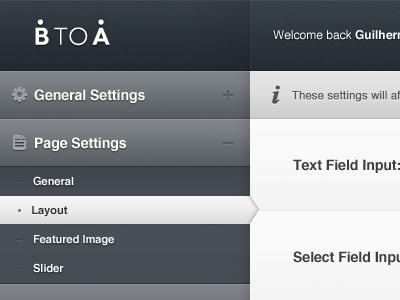 BTOA Wordpress Custom Admin Panel ui app wordpress admin web dark clean elegant user interface