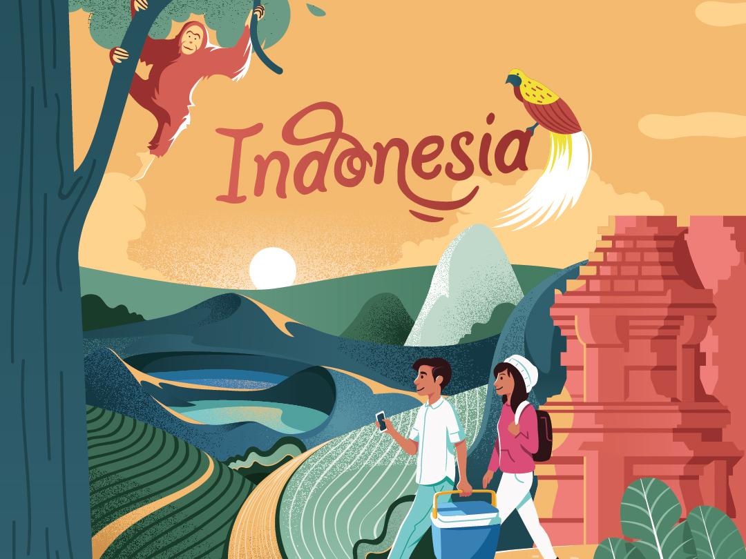 Indonesia nature illustration vector nature indonesia