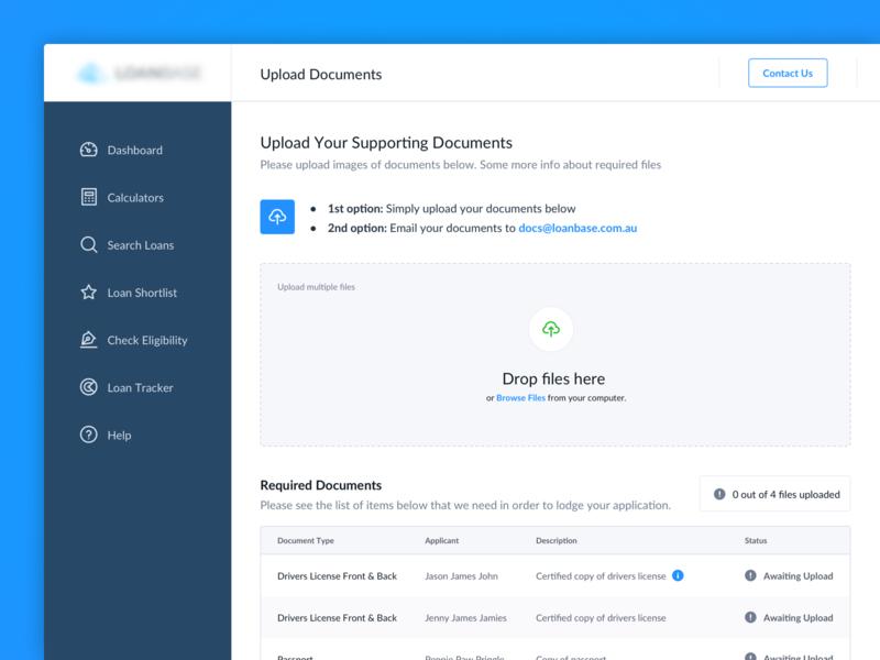 Document Uploader user interface crm uploader ui dashboard