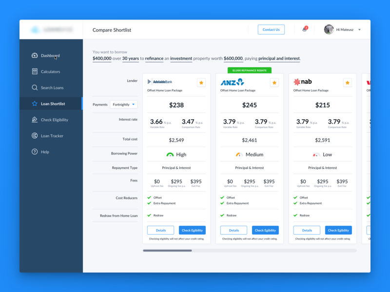 Compare Shortlist loans brokers compare table user interface ui crm loan dashboard