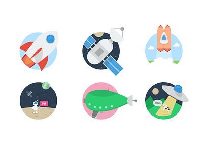 Flat Space flat icon icons illustrations rocket satellite space stars gun ufo