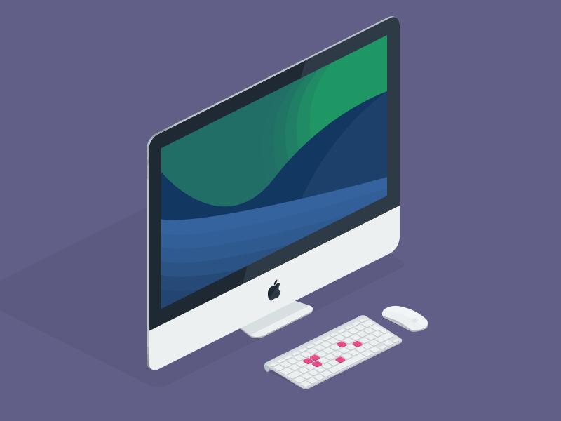 iMac isometric imac apple magic mouse invite dribbble