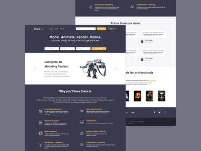 Clara.io Homepage Redesign