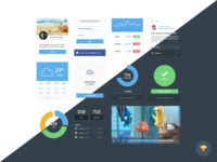 Dark and Light Ui Kit ui kit graph user stats upload drag and drop movie player sketch file free freebie weather tabs