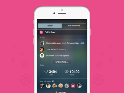 Dribbble widget for iOS8