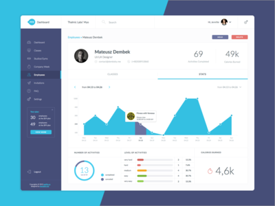FITZ User Profile clean tabs profile stats dashboard fitz interface violet blue application flat ui