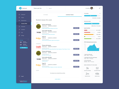FITZ Company Week clean dashboard fitz interface violet blue application flat ui