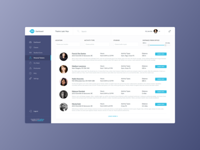FITZ Personal Trainer user users filters dashboard ui trainer personal fitz