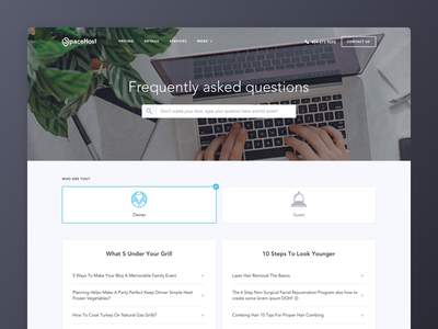 FAQ Page - SpaceHost website ui icons select faq search hero clean