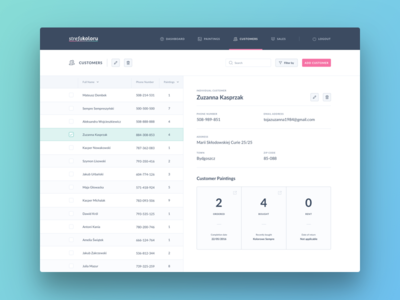 StrefaKoloru - Customers dashboard sidebar customers flat ui inputs table