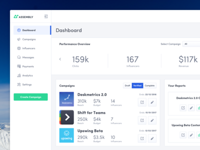 Assembly Dashboard white clean feed reports stats campaigns app ui dashboard