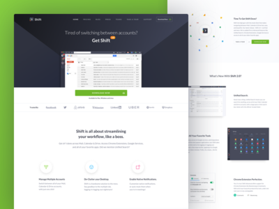 Shift 2.0 Launch 🚀 website landing page mail product app ui shift