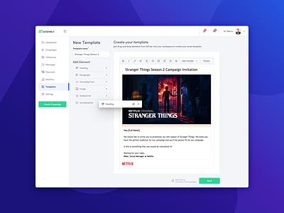 Email Template Creator template creator user interface ui creator wysiwyg dashboard