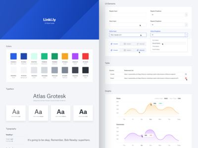 Linki.ly UI Style Guide guidelines ui style guide inputs dropdown slider typo typeface graph