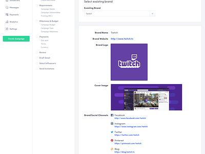 Create New Campaign (Brand Details) dashboard ui brand create social clean sidebar checklist