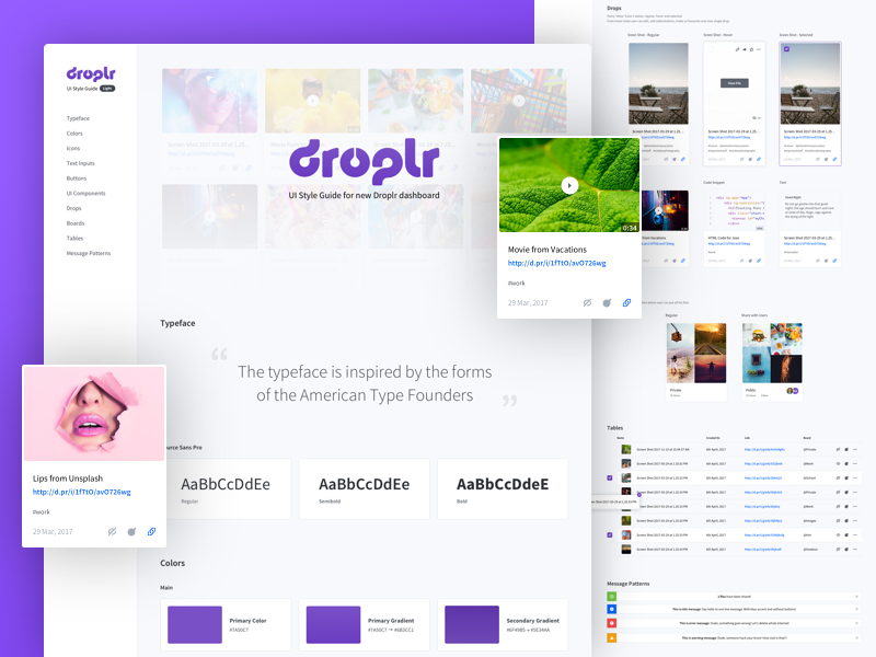 Droplr UI Style Guide (ligh version) redesign droplr ui user interface styleguide dashboard style guide