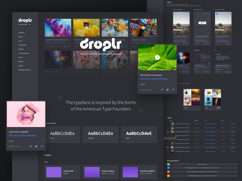 Droplr UI Style Guide (dark version)