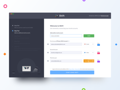 Shift First Run white dark gmail product app shift illustration first run user interface ui
