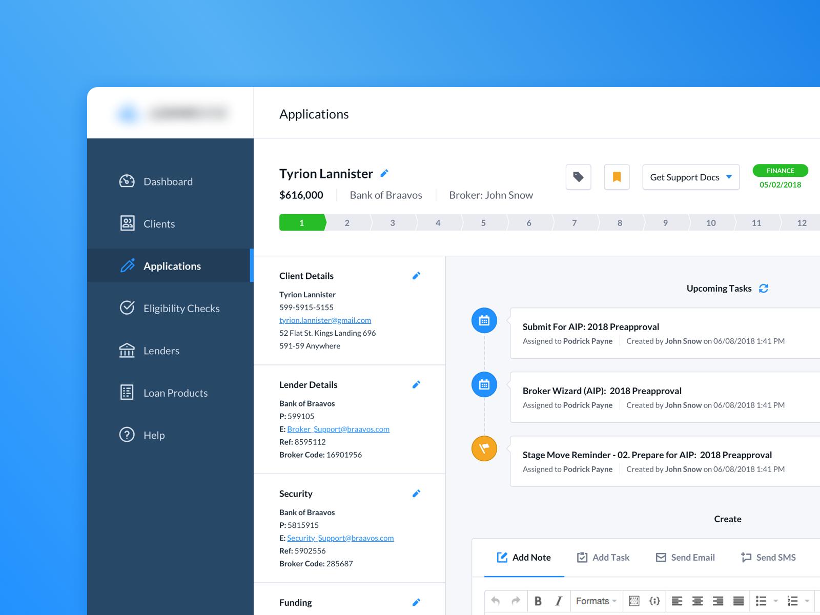Application Details (Loan Admin Dashboard) crm wip user interface ui dashboard