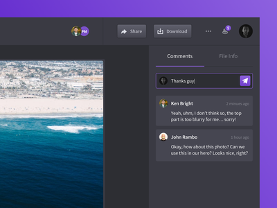 Droplr - Drop View Redesign comments dark ui user interface file preview clean dashboard ui droplr