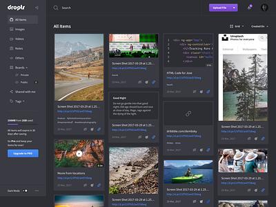 Droplr Dashboard Redesign redesign droplr user interface clean dashboard ui