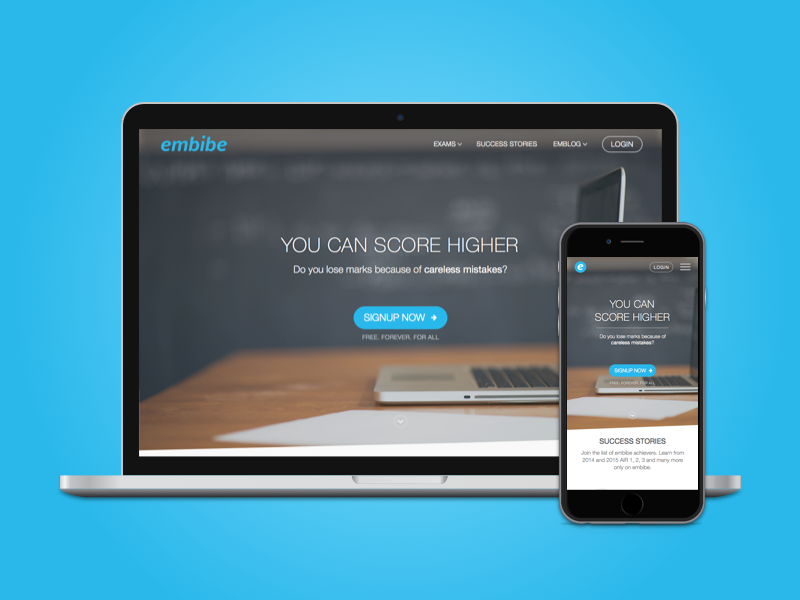 embibe startup india education responsive ux web ui