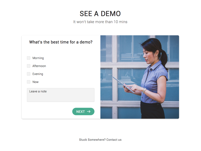 Minimal Demo timings page ux design minimal ui