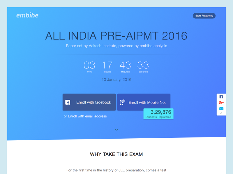 All India Pre-AIPMT 2016 challenge contest enroll responsive landing startup ux ui education