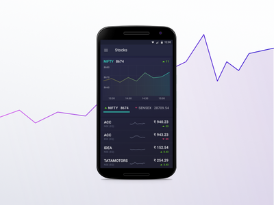 Stock Android Application ux ui nifty sensex chart app android stock dark